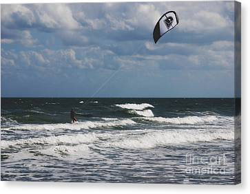 October Beach Kite Surfer Canvas Print by Susanne Van Hulst