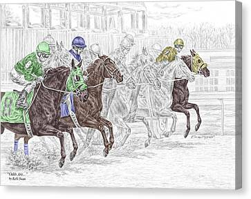 Odds Are - Tb Horse Racing Print Color Tinted Canvas Print by Kelli Swan