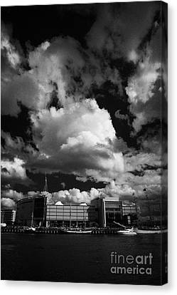 odyssey building and river lagan during the tall ships visit to Belfast in 2009 during Belfast  Canvas Print by Joe Fox