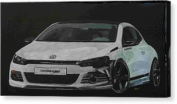 Canvas Print featuring the painting Oettinger Vw Scirocco  by Richard Le Page