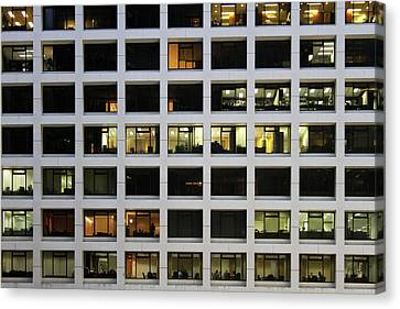 Office Building At Night Canvas Print by Lars Ruecker