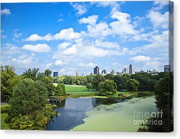 Office Buildings From A Park Canvas Print by Inti St. Clair