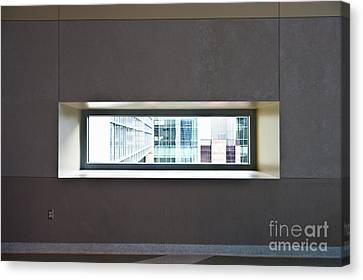 Office Buildings Seen Through Window Canvas Print