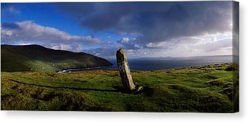 Ogham Stone At Dunmore Head, Dingle Canvas Print by The Irish Image Collection