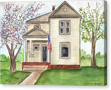 Canvas Print featuring the painting Ohio Cottage With Flag by Clara Sue Beym