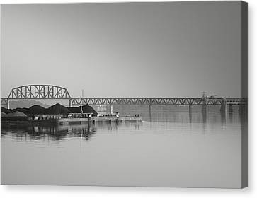 Ohio River Coal Barge I Canvas Print by Steven Ainsworth