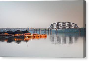 Ohio River Coal Barge II Canvas Print by Steven Ainsworth