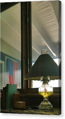 Oil Lamp And Porch Canvas Print by Steven Ainsworth