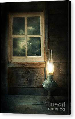 Haunted House Canvas Print - Oil Lamp On Table By Window by Jill Battaglia