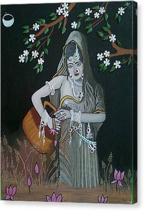 Oil Painting...a Lady With Pitcher Canvas Print by Priyanka Rastogi