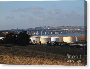 Oil Refinery Industrial Plant And Martinez Benicia Bridge In Martinez California . 7d10388 Canvas Print by Wingsdomain Art and Photography