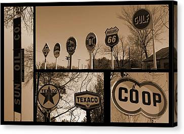 Oil Sign Retirement Canvas Print by Betty Northcutt