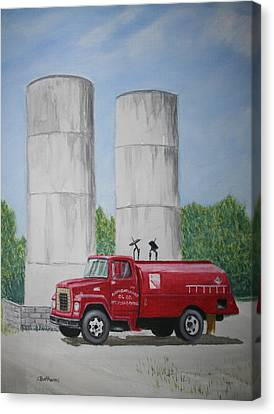 Canvas Print featuring the painting Oil Truck by Stacy C Bottoms