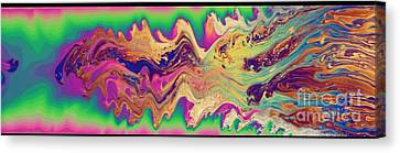 Oily Surface Of A Soap Bubble Canvas Print by Ted Kinsman