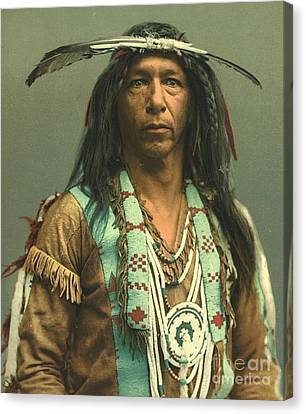 Ojibwa Brave Arrowmaker Canvas Print by Padre Art