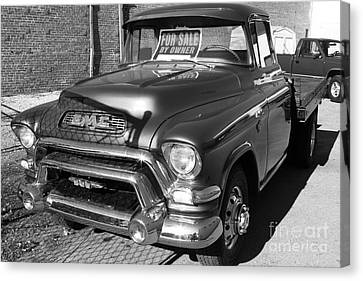 Old American Gmc Truck . 7d10665  . Bw Canvas Print by Wingsdomain Art and Photography