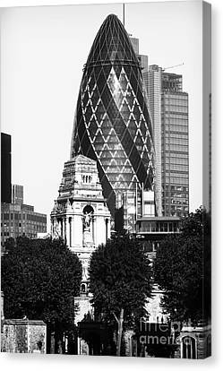 Old And New In London Canvas Print by John Rizzuto