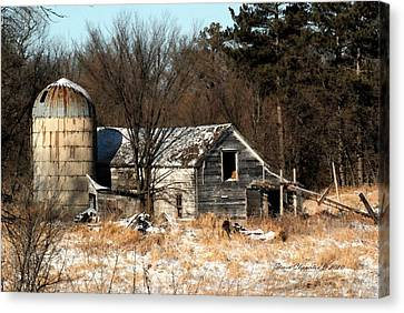 Old Barn And Silo Canvas Print by Steven Clipperton