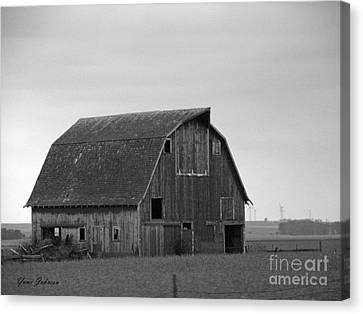 Canvas Print featuring the photograph Old Barn In Winter by Yumi Johnson