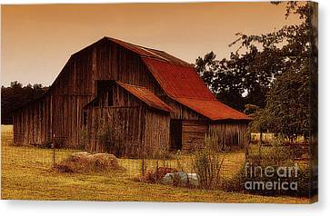 Canvas Print featuring the photograph Old Barn by Lydia Holly