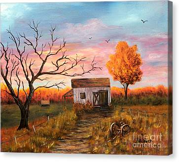 Old Barn Painting At Sunset Canvas Print by Judy Filarecki