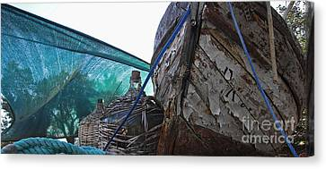 Old Boat And Flagons Canvas Print by Andy Prendy