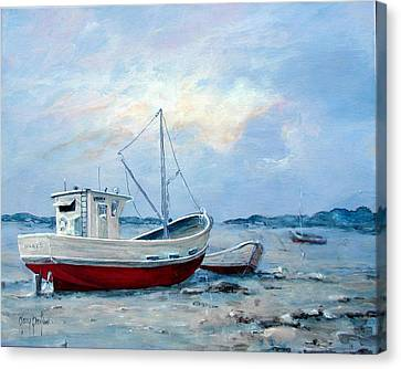 Old Boats On Shore Canvas Print by Gary Partin