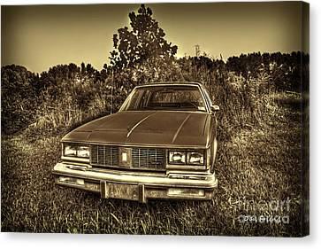 Old Car In Field Canvas Print by Dan Friend