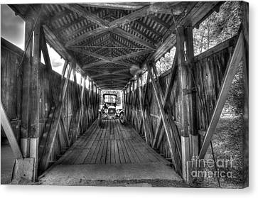 Old Car On Covered Bridge Canvas Print by Dan Friend