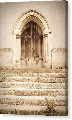 Medieval Temple Canvas Print - Old Church Door by Tom Gowanlock
