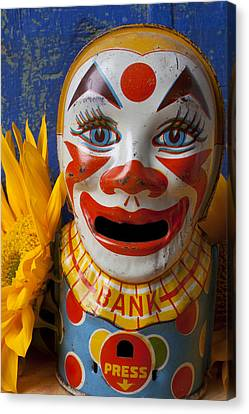 Old Clown Bank Canvas Print by Garry Gay