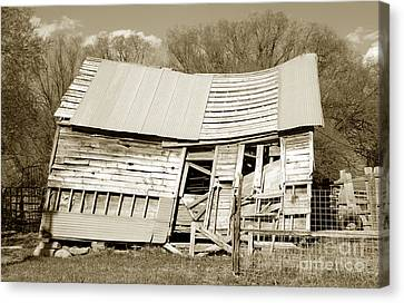 Old Collapsed Barn - Wasatch Mountains Canvas Print by Gary Whitton