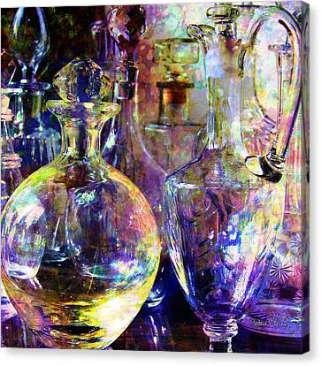 Old Decanters Canvas Print by Barbara Berney