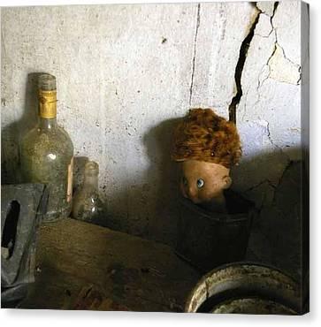 Old Doll In The Attic Canvas Print by Draia Coralia