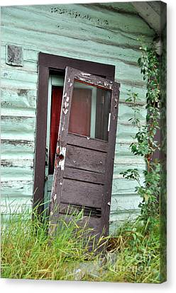 Old Door On Rustic Alaska Cabin Canvas Print by Gary Whitton
