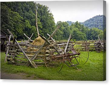 Old Farm Machinery And Split Rail Fence On A Farm In The Smokey Mountains Canvas Print by Randall Nyhof