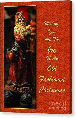 Old Fashioned Santa Christmas Card Canvas Print by Lois Bryan