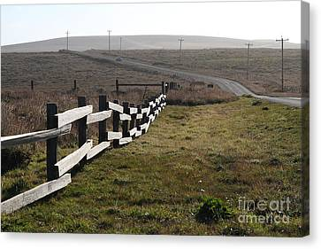 Old Fence And Landscape Along Sir Francis Drake Boulevard At Point Reyes California . 7d9897 Canvas Print by Wingsdomain Art and Photography