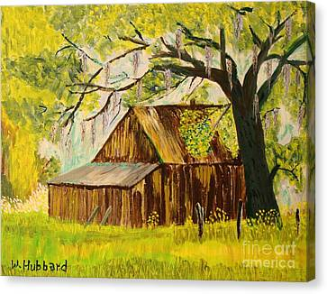 Old Florida Farm Shed Canvas Print by Bill Hubbard
