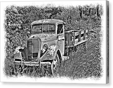 Old Ford Flatbed Bw Canvas Print by William Havle