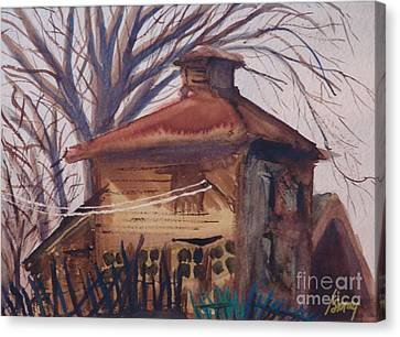 Canvas Print featuring the painting Old Garage by Rod Ismay