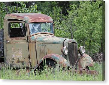 Canvas Print featuring the photograph Abandoned Truck In Field by Athena Mckinzie