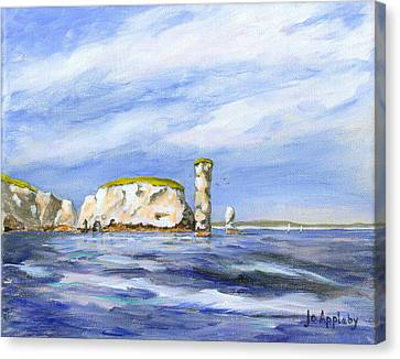 Canvas Print featuring the painting Old Harry Rocks by Jo Appleby