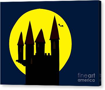 Old Haunted Castle In Full Moon Canvas Print