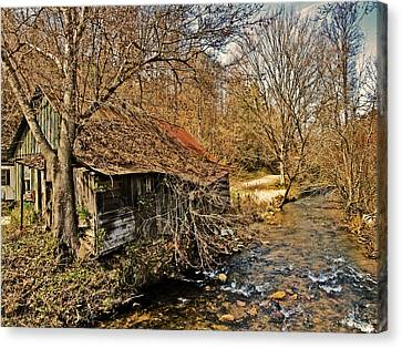 Old Home On A River Canvas Print