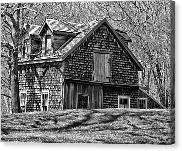 Canvas Print featuring the photograph Old House In Adamsville Ri by Nancy De Flon
