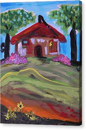 Old House With Two Trees Canvas Print by Mary Carol Williams