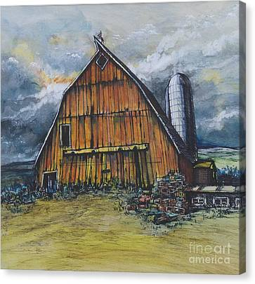 Old Illinois Barn With Silo Canvas Print