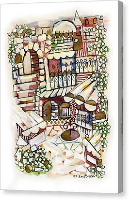 Old Jerusalem Courtyard Modern Artwork In Red White Green And Blue With Rooftops Fences Flowers Canvas Print by Rachel Hershkovitz