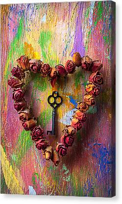 Old Key And Rose Heart Canvas Print by Garry Gay